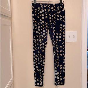 Lularoe leggings, navy w/ tan X, one size / OS